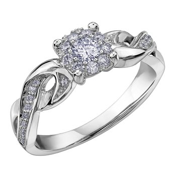Accented Halo Engagement Ring