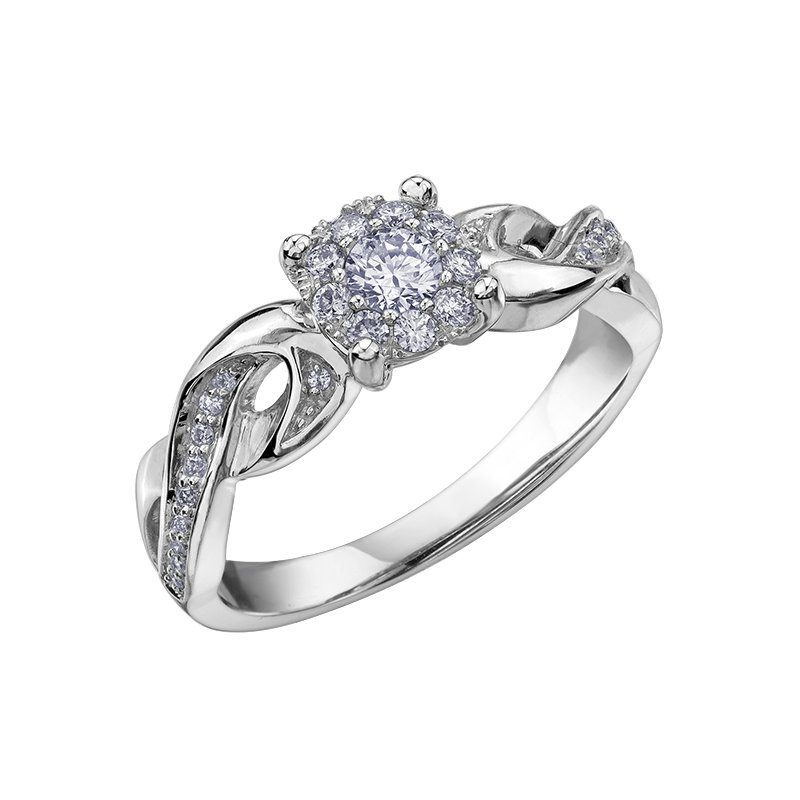 Empress Line Accented Halo Engagement Ring