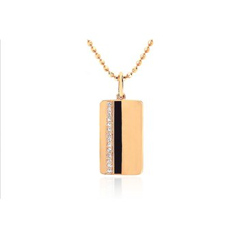 DIAMOND & BLACK ENAMEL VERTICAL STRIPE NECKLACE