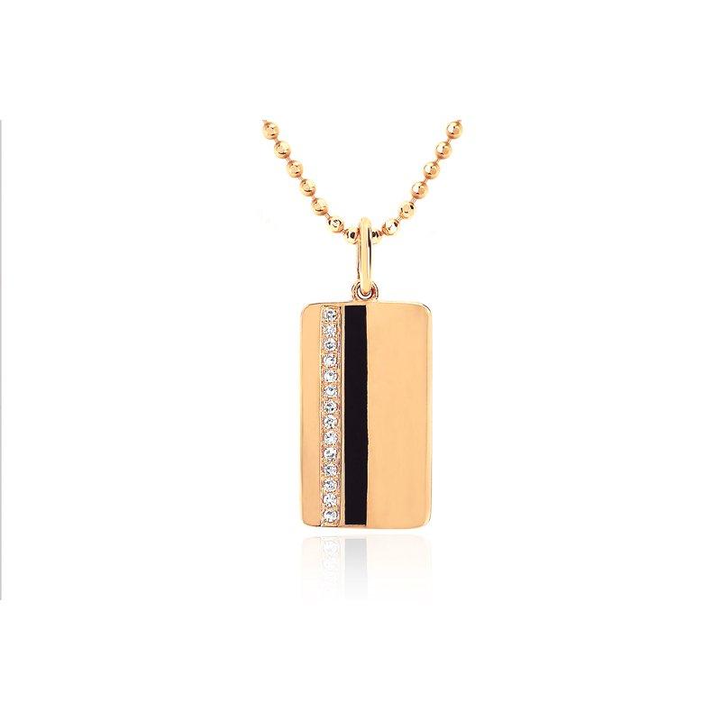 DIAMOND & BLACK ENAMEL VERTICAL STRIPE NECKLACE
