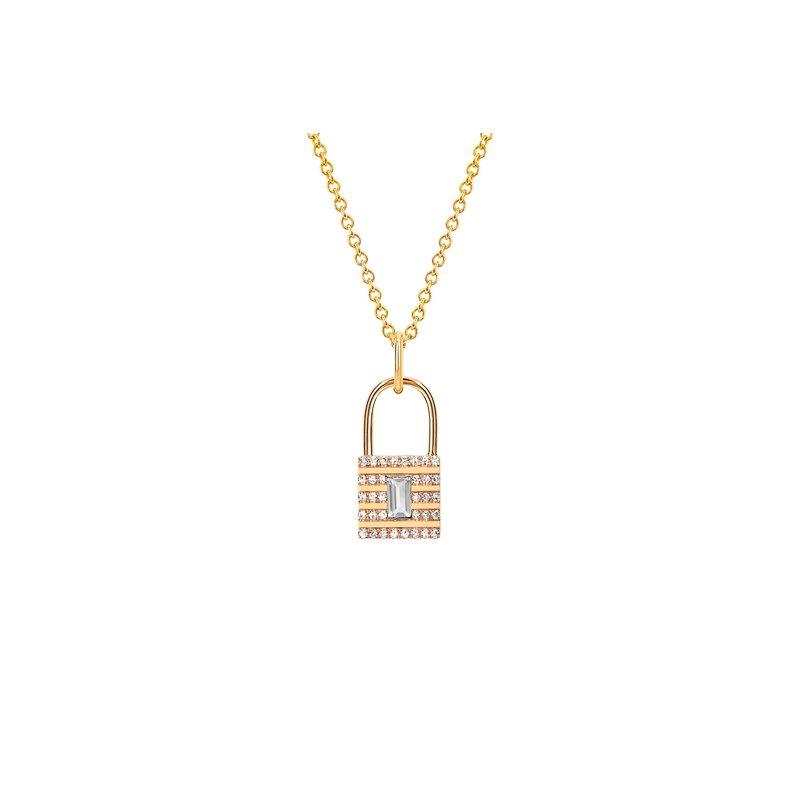 MINI DIAMOND & WHITE TOPAZ LOCK NECKLACE