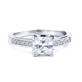 Pavé Princess Diamond Engagement Ring