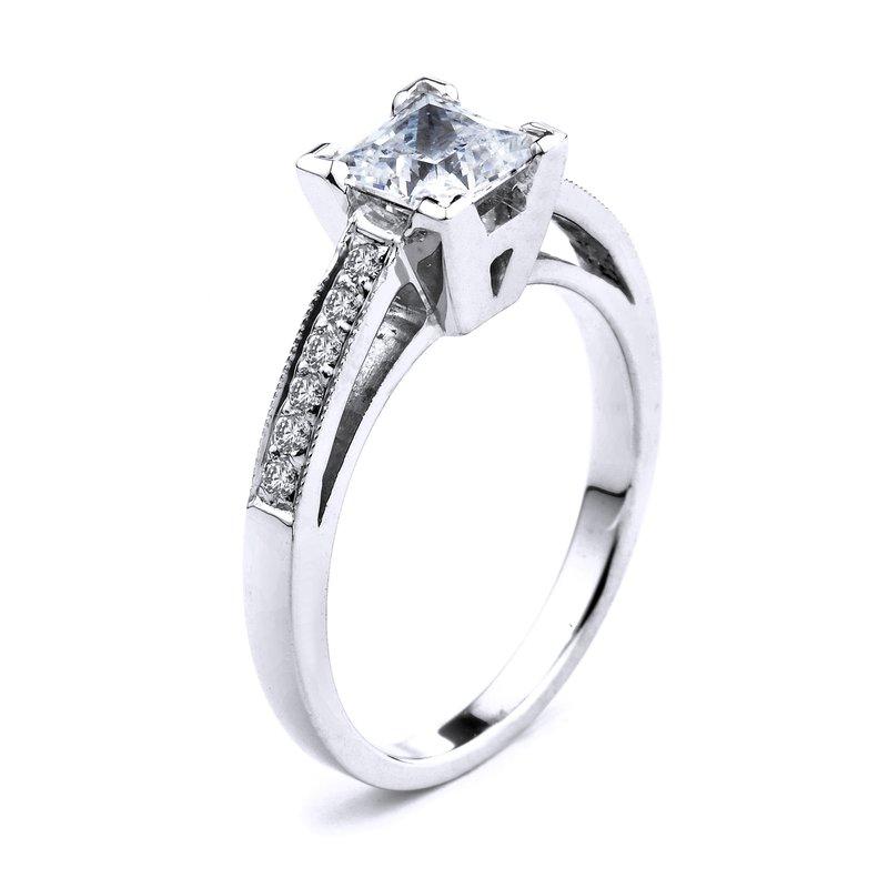 Pavé Princess Diamond Engagement Ring