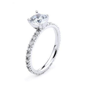 Eternity Engagement Ring in 14K White Gold