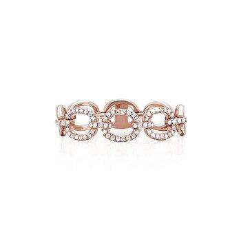 HALF DIAMOND CHAIN LINK RING