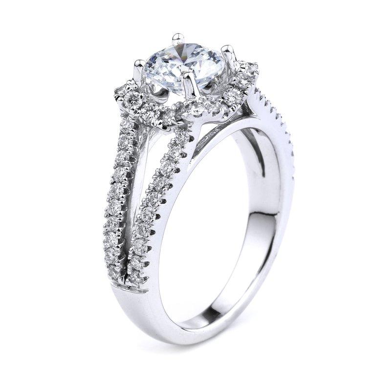 Halo Diamond Engagement Ring In 14K White Gold Split Shank Halo Diamond Ring
