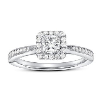 Halo Princess Cut Diamond Engagement Ring
