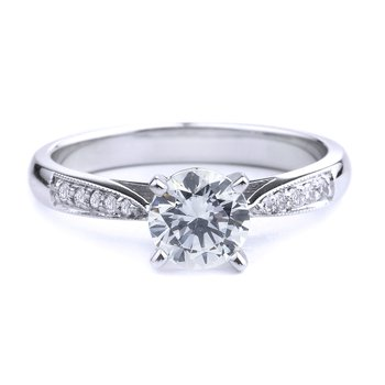 Pavé Diamond Engagement Ring In 14K White Gold Round Diamond Engagement Ring