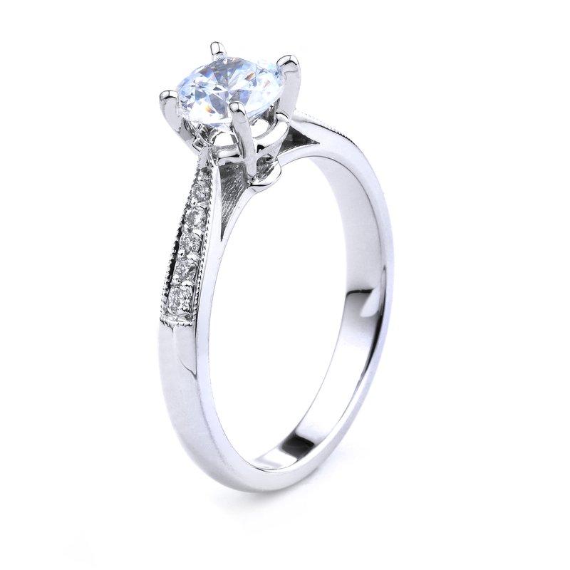 Pavé Diamond Engagement Ring In 14K White Gold Round Diamond Engagement Ring