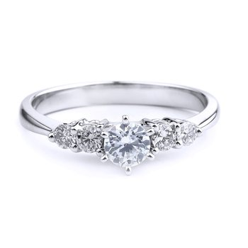 5 Stone Diamond Engagement Ring In 14K White Gold