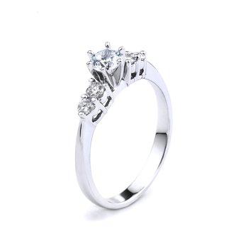 5 Stone Diamond Engagement Ring In 14K White Gold