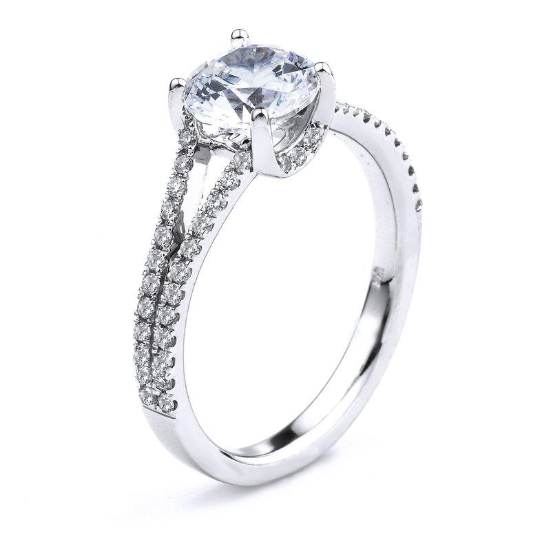 Diamond Engagement Ring In 14K White Gold Split Band Engagement Ring