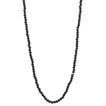 Beaded Lava & Brass Necklace
