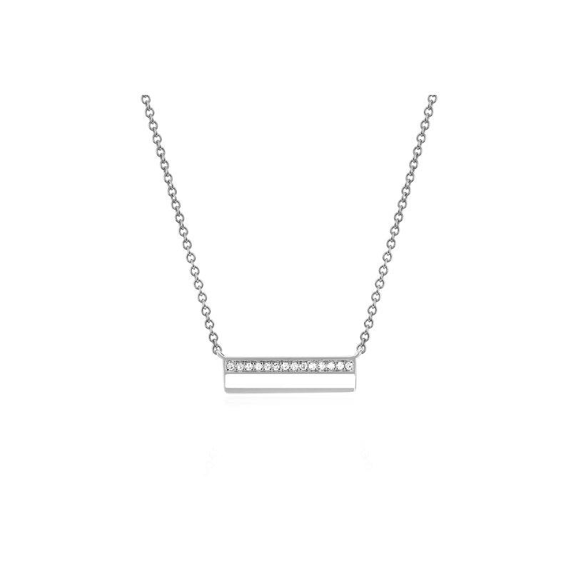 MINI DIAMOND & WHITE ENAMEL BAR NECKLACE