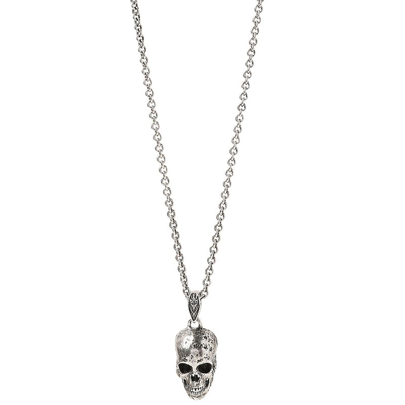 Silver Distressed Skull Necklace