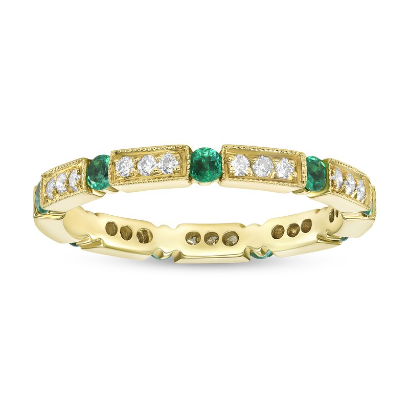 Diamond and Emerald Stackable Band