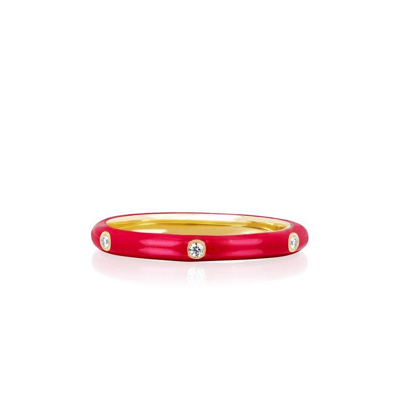 3 DIAMOND RED ENAMEL STACK RING