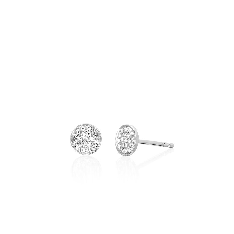 DIAMOND MINI DISC STUD EARRING