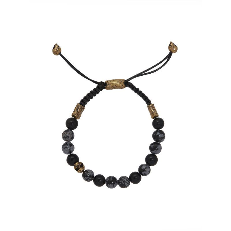 8mm Brass Skull with Obsidian Beads Bracelet