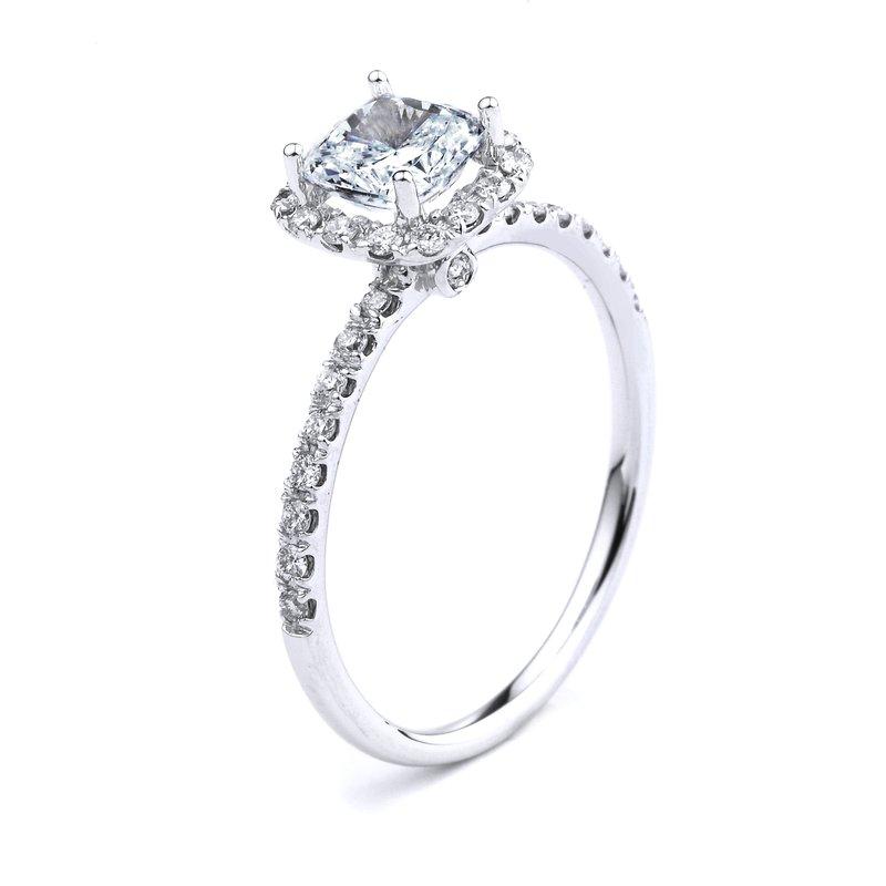 Cushion Halo Diamond Engagement Ring In 14K White Gold