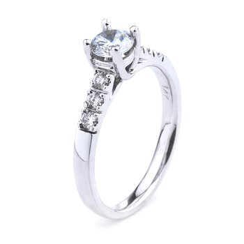 Round Cut Diamond Engagement Ring in 14K White Gold