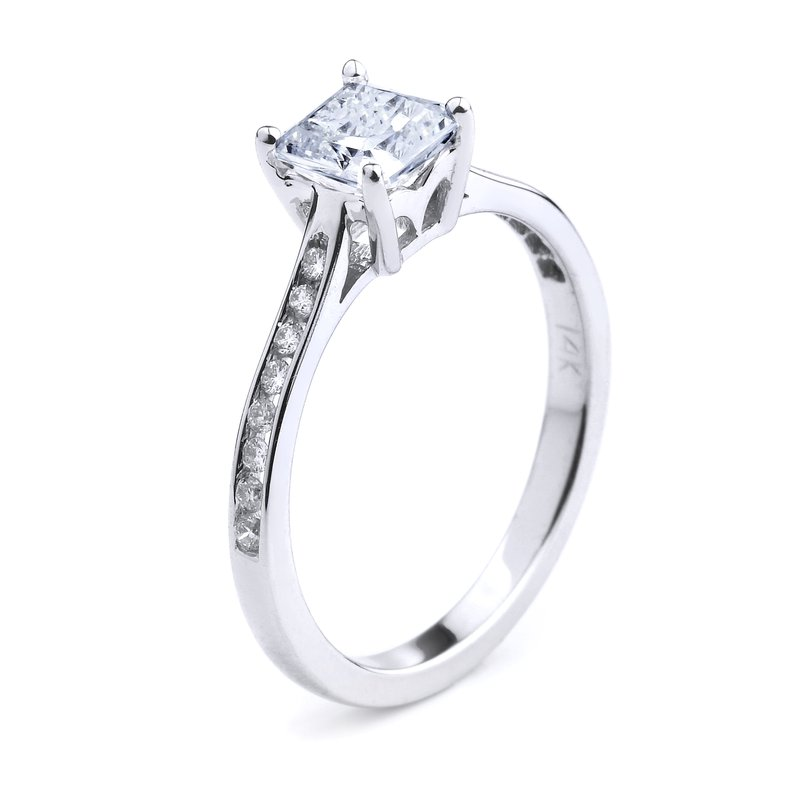 Simple Channel Set Diamond Engagement Ring