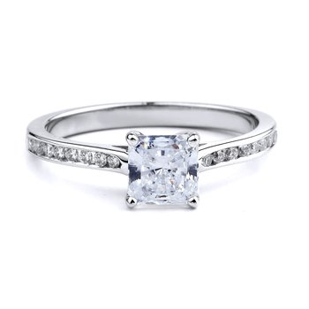 Simple Channel Set Diamond Engagement Ring