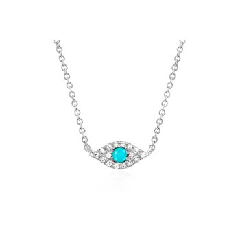 DIAMOND TURQUOISE EVIL EYE CHOKER NECKLACE