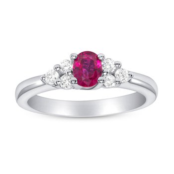 Oval Ruby Diamond Ring