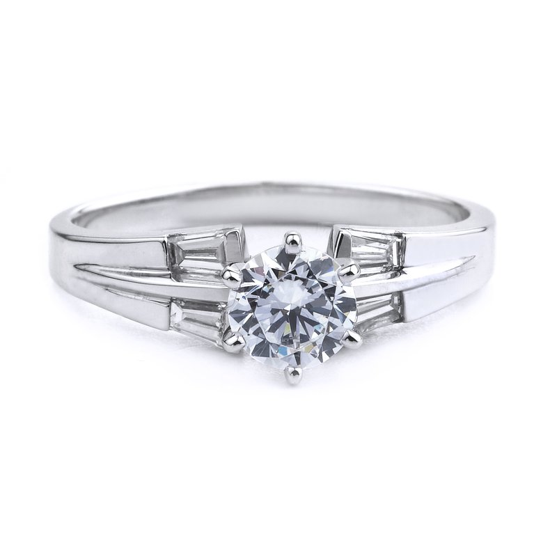 Classic Baguette Diamond Engagement Ring