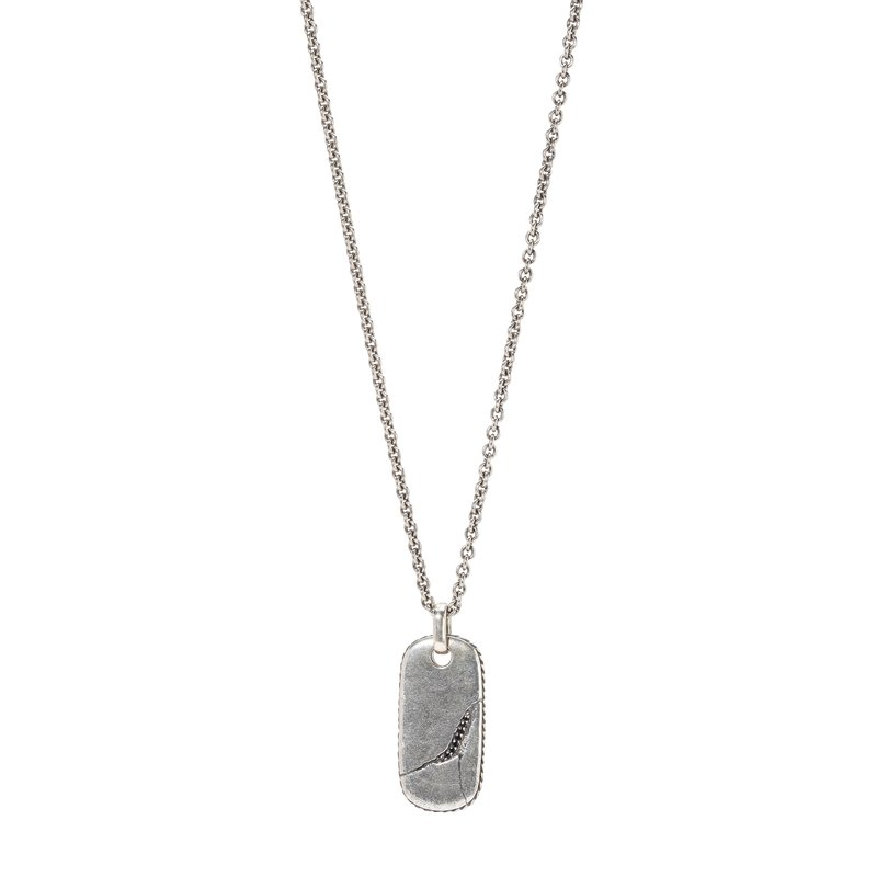 Black Diamond Dog Tag Silver Necklace