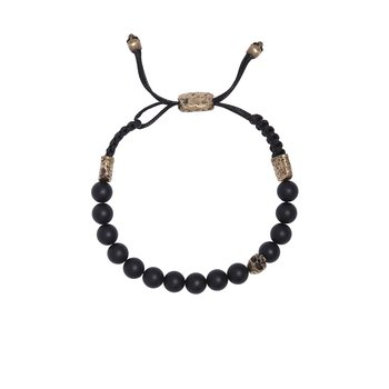 8mm Brass Skull with Onyx Beads Bracelet