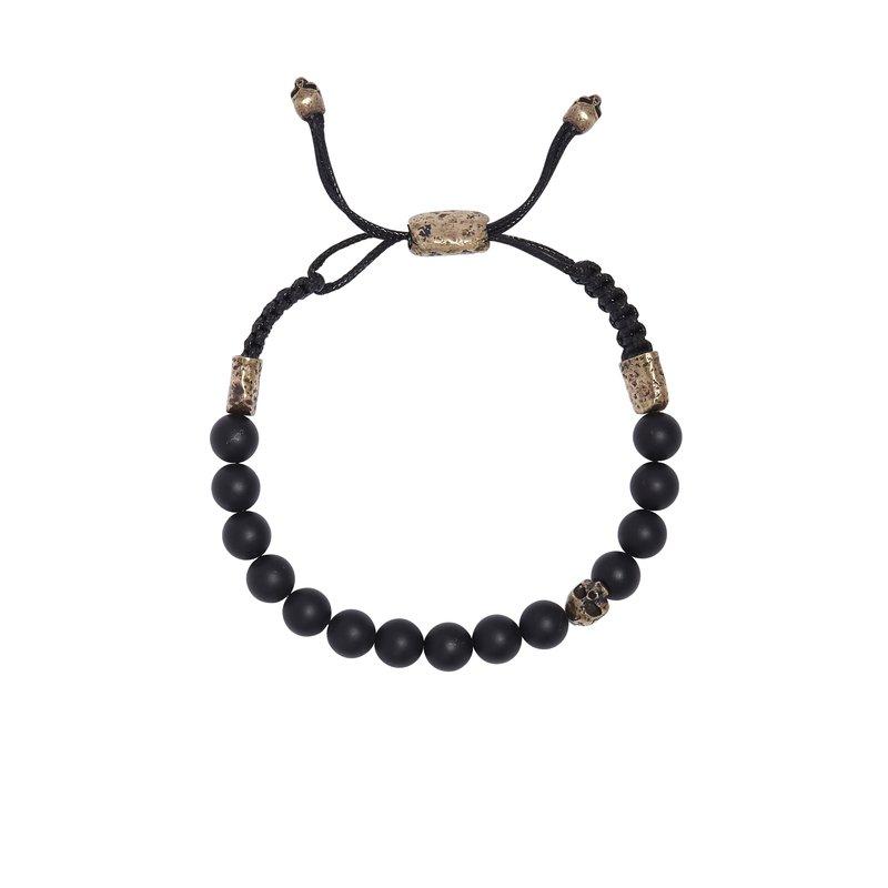 8mm Brass Skull with Onyx Beads Bracelet