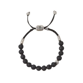 8mm Brass Skull with Lava Beads Bracelet