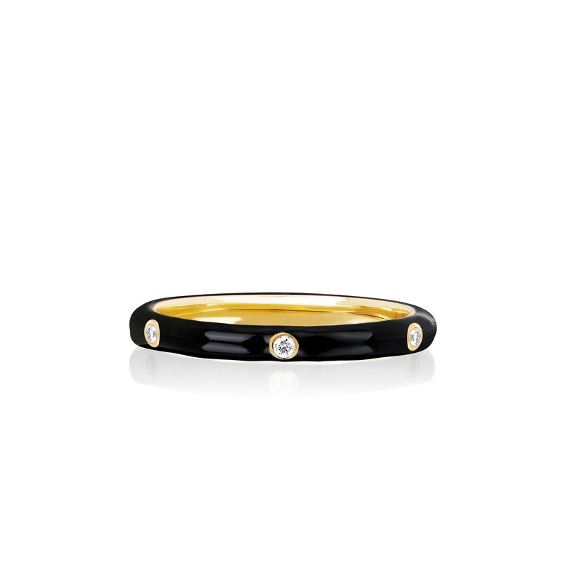 3 DIAMOND BLACK ENAMEL STACK RING