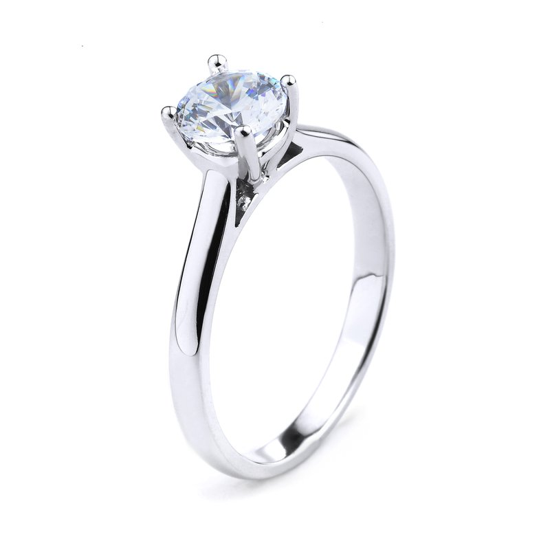 Solitaire Engagement Ring In 14K White Gold Round Cut Solitaire Ring