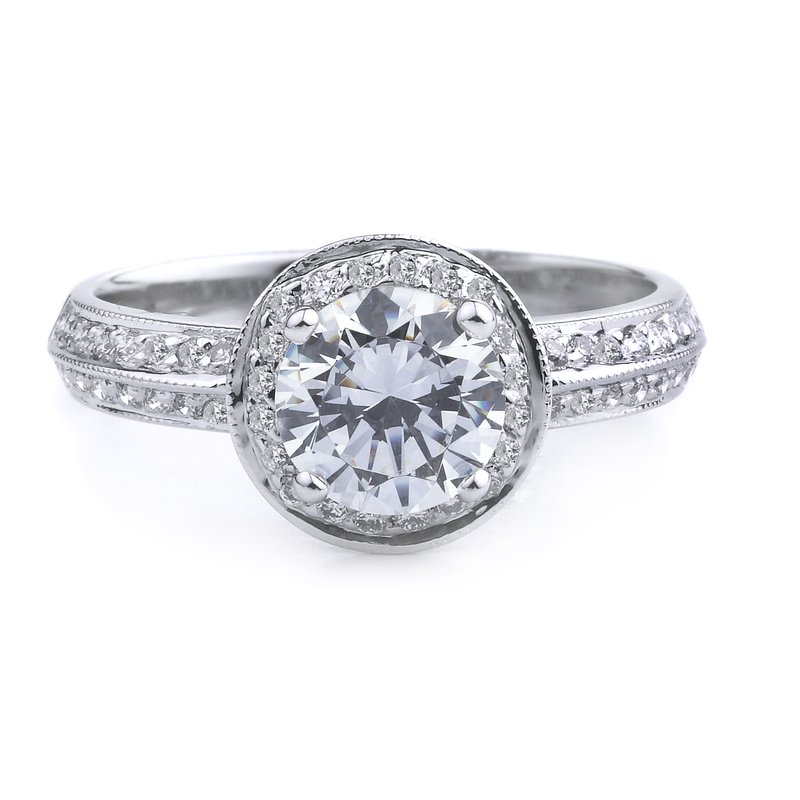 Round Halo Engagement Ring In 14K White Gold