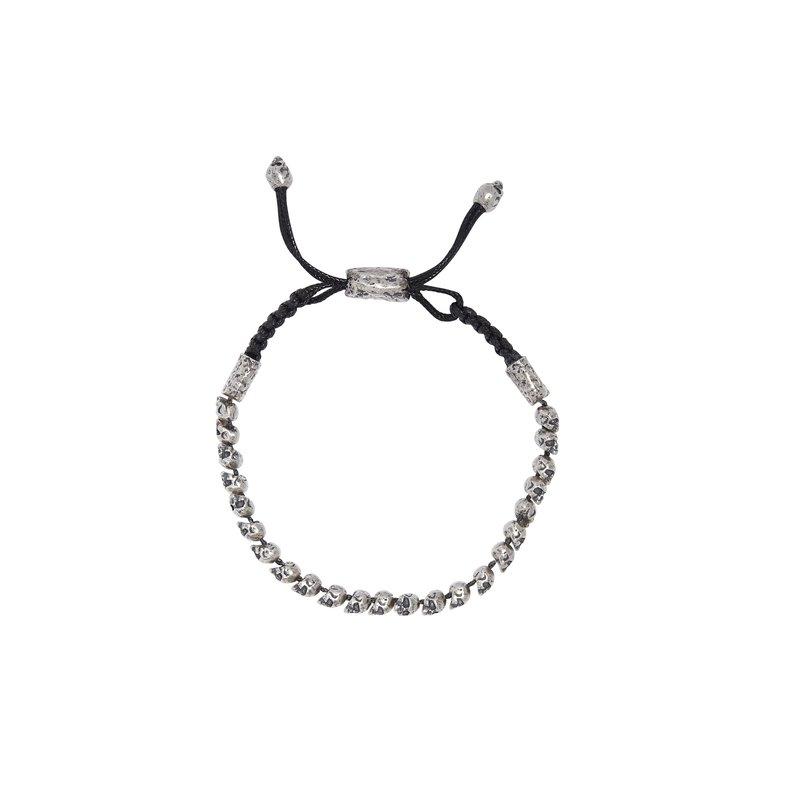 Beaded Silver Skull Bracelet