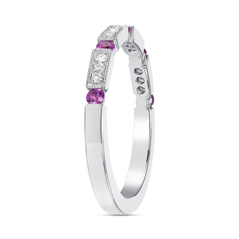 Pink Sapphire Diamond Band