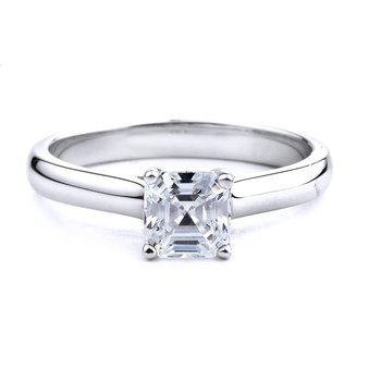 Asscher Cut Solitaire Engagement Ring In 14K White Gold Asccher Cut Solitaire Ring