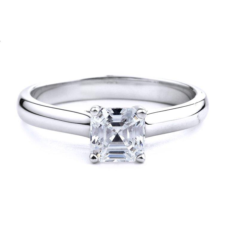 Asscher Cut Solitaire Engagement Ring In 14K White Gold Asccher Cut Solitaire Ring