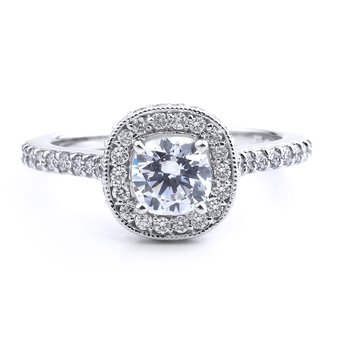 Cushion Halo Diamond Engagement Ring In 14K White Gold