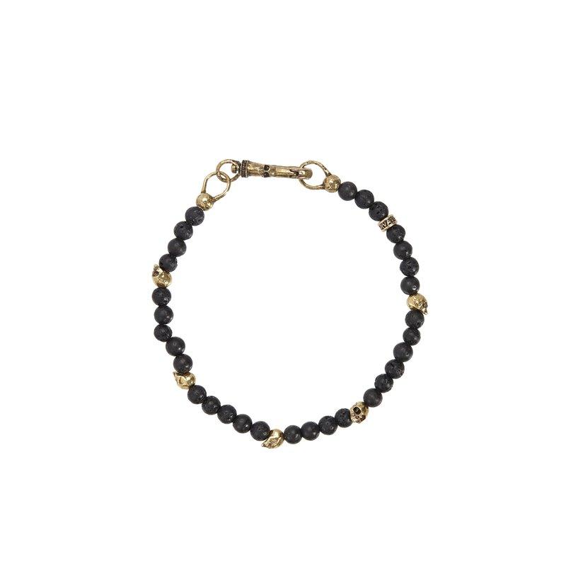 Brass Skull Beads and 4mm Lava Beads Bracelet