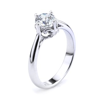 Solitaire Engagement Ring In 14K White Gold Fleur De Lis Solitaire Ring