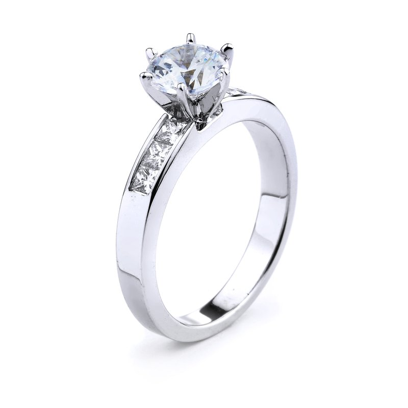 Classic Princess Cut Diamond Engagement Ring in 14K White Gold