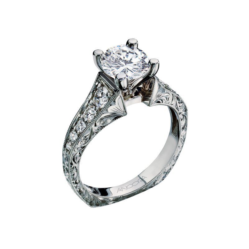 Ancora Cathedral Solitaire Engagement Ring