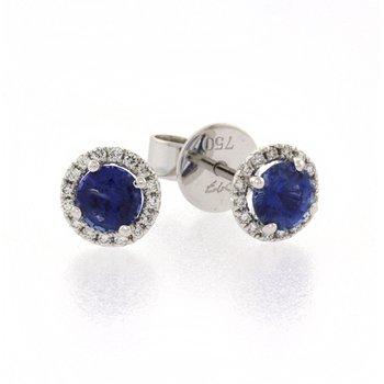Blue Sapphire halo earrings