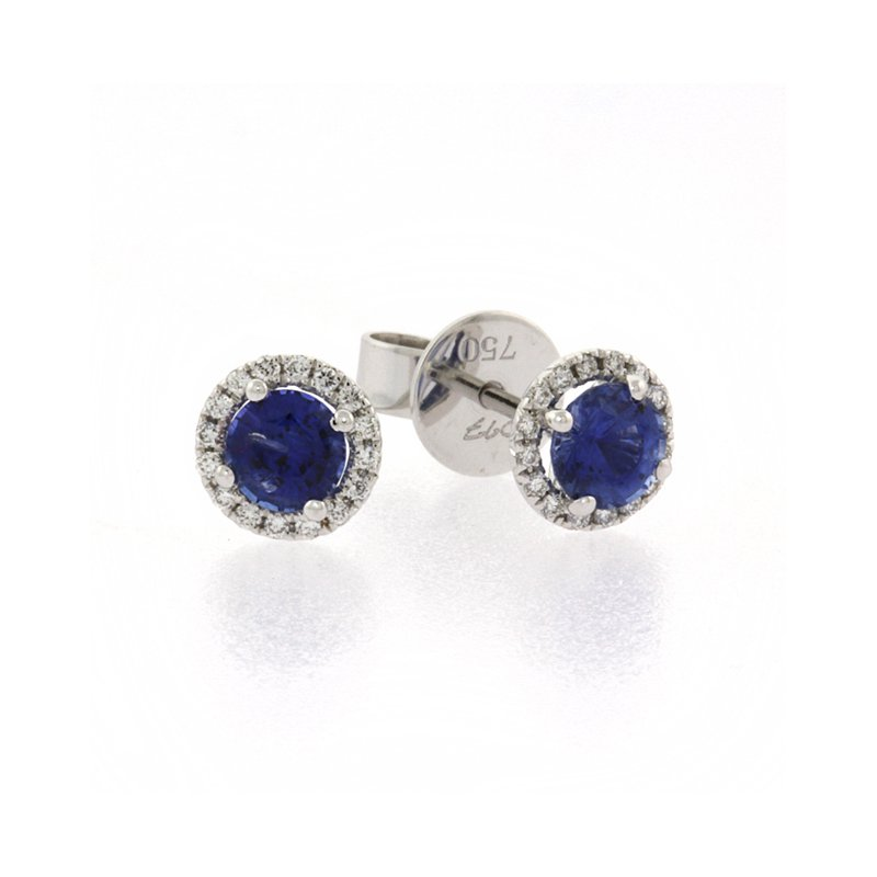 Roman+Jules Blue Sapphire halo earrings