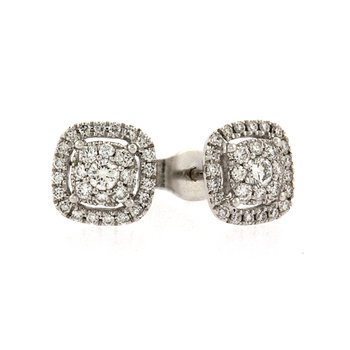 Cushion style diamond cluster earrings