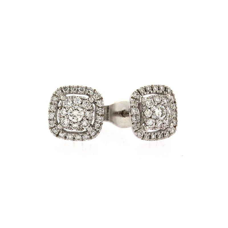 Roman+Jules Cushion style diamond cluster earrings
